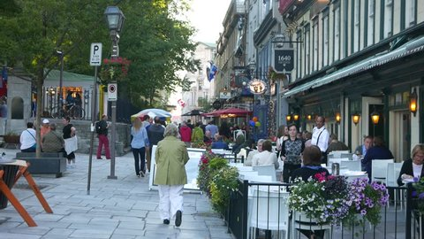 QUEBEC, CANADA - MAY 2015 : Streets with tourists. Quebec City is one of the oldest European settlements in North America.