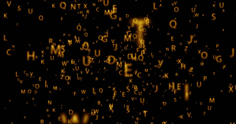 digital orbit animation seamless loop with golden letters on black background. 4K and 1080 resolution.