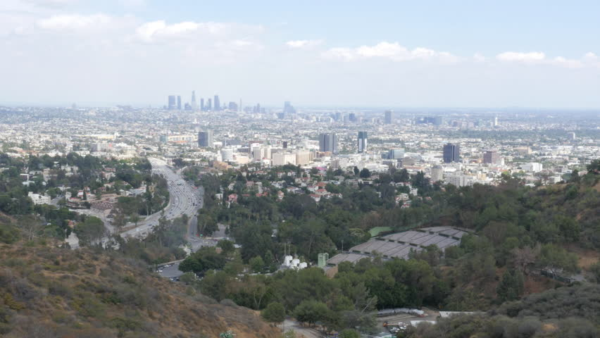 4K Shot of Hollywood with Downtown Los Angeles in Background | Shutterstock HD Video #10928954