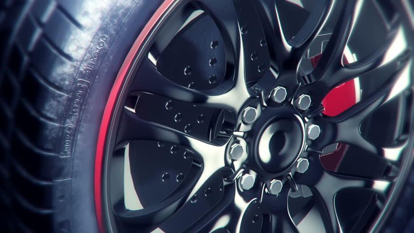 360° black wheel rim rotation, very elegant and stylish, super closeUp.. seamless loop, rendered with extreme level of details for HD