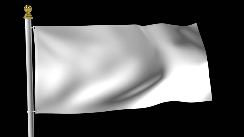White Surrender Flag Waving in the Wind Isolated on Black Background - HD Loop Animation
