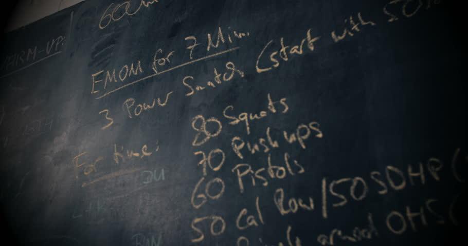 Blackboard with crossfit training plan written in chalk on wall