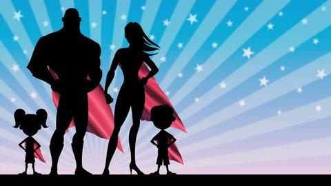 Superhero Family: Looping animation of superhero family posing.