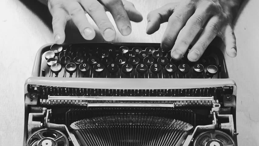 Typing a film script or a book on a vintage typerwriter