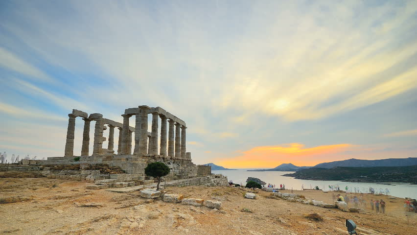 Sunset at Cape Sounion, Time Lapse of the Sounio Temple in Greece, from sunset to dusk.