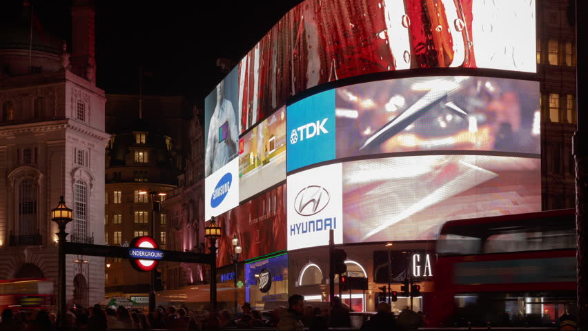 LONDON, DECEMBER 19 - Timelapse night scene of Piccadilly Circus in London, UK