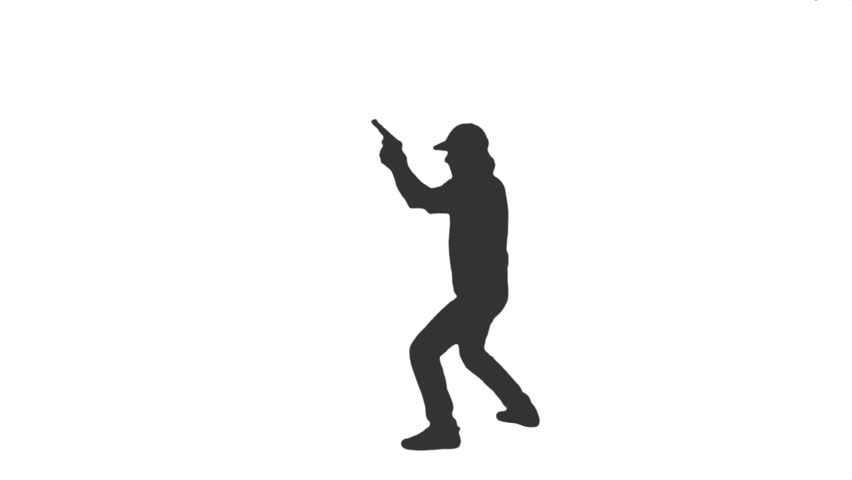silhouette of detective with a gun running shooting side view full hd footage