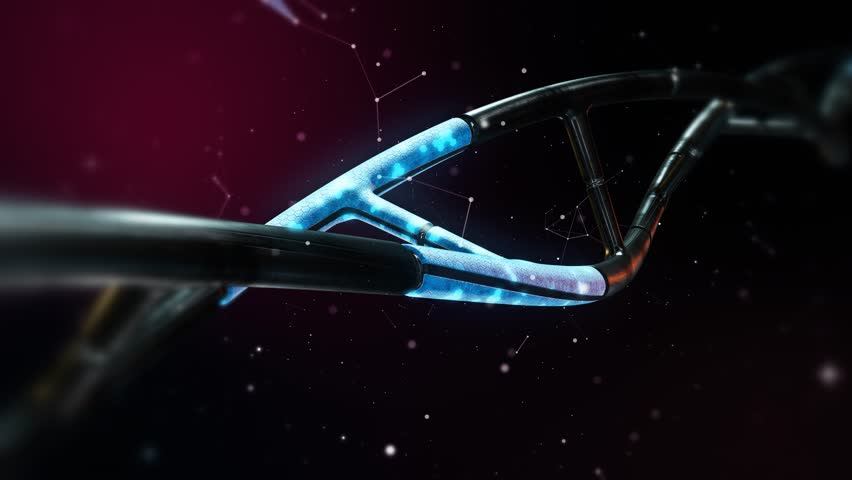 Artificial DNA Strand Animation Loop in 4K - 3D Blue Android Background
