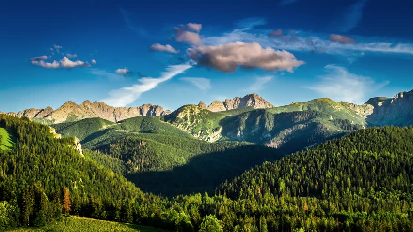 Sunset in Zakopane view to Tatra mountains