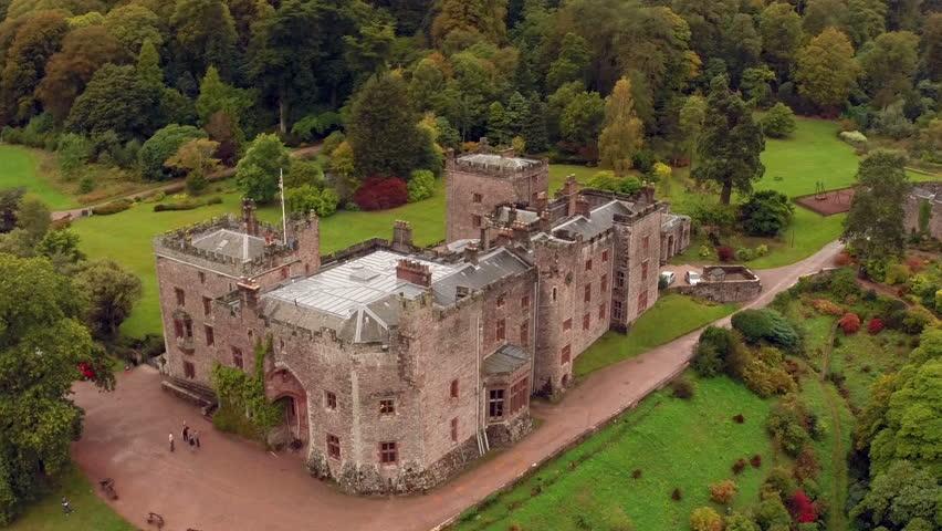 Aerial shot of Muncaster Castle in Cumbria, England