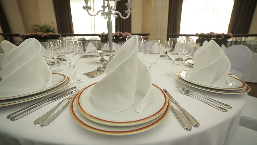 Beautiful Wedding Table Set Updolly Shot Stock Footage Video 11109284 | Shutterstock : setting up a table - pezcame.com