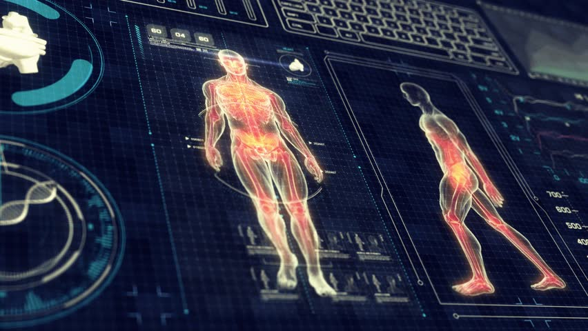 Human Anatomy WALKING with Futuristic Touch Screen Scan Interface in 3D x-ray - LOOP #11118254