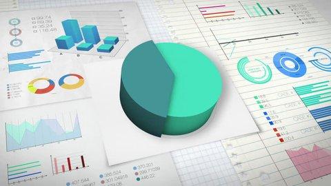 40 percent Pie chart with various economic finances graph version 2.(no text)