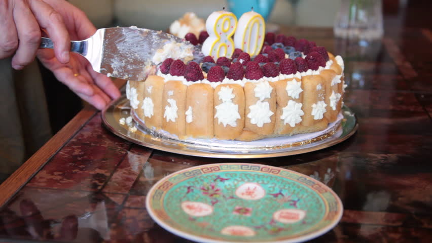 80 Years Old Birthday Cake Slice Candles Woman Hands Cutting Dessert