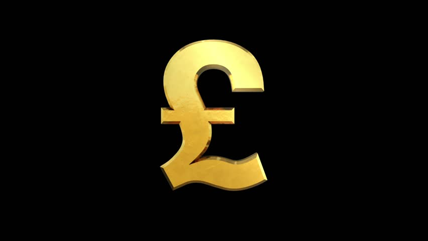 A Golden Sterling Pound Symbol Stock Footage Video 100 Royalty