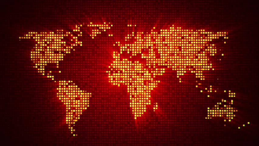 Animation Of Flicker And Slow Motion Particles In Digital World Map. Abstract Background Of