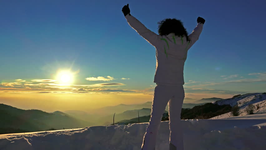 4K Victory Pose by Woman on Top of Mountain Sunset Lifting Hands at the Sun. Victory, Success, Business Background Concept. UHD steadycam stock video  #11220644