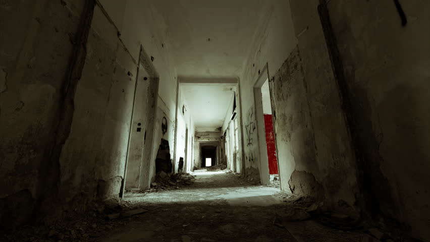 4K linear tracking inside a scary abandoned coridor of an evacuated building.4K linear motion control timelapse inside a long hallway of a long-ago abandoned and evacuated building.