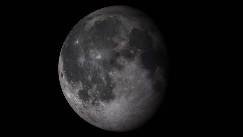 W/Alpha: Moon Phases / Moon Surface / Lunar Surface. Moon phases with solid black shadow. 14-seconds loop with alpha-matte. Isolated on black background. (av11193c)