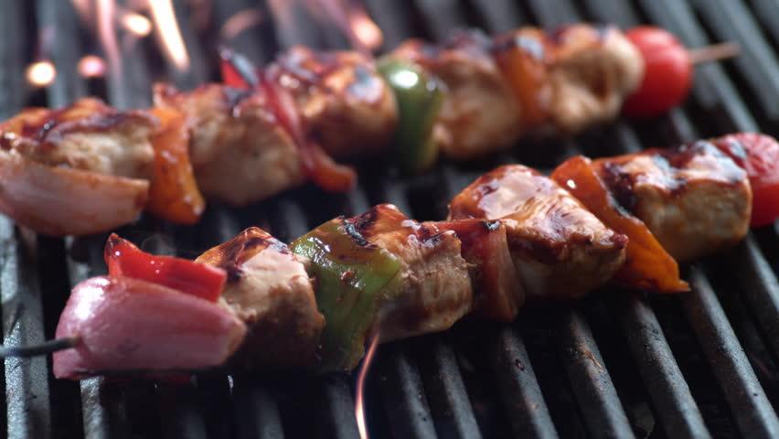 Chicken skewers on grill, shot on Phantom Flex 4K | Shutterstock HD Video #11262884