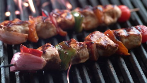 Chicken skewers on grill, shot on Phantom Flex 4K