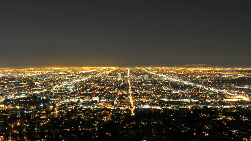 Downtown Los Angeles >> Time Lapse of Downtown LA City Grid at Night | stock clip #1127764 | Stock Clips