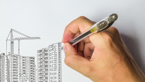Multi-storey building being built from sketch in pencil