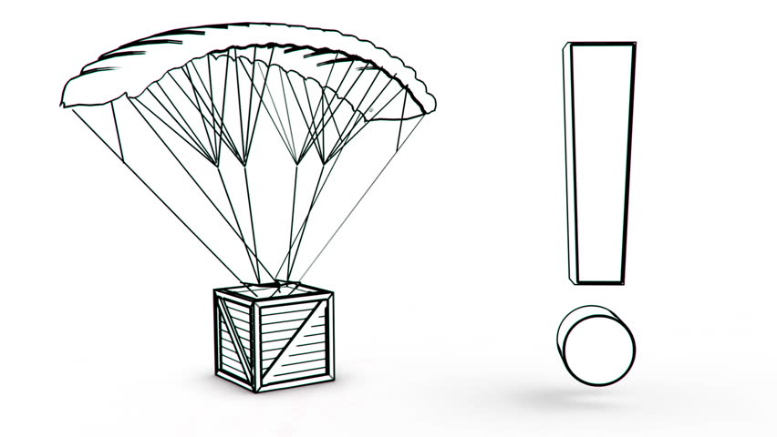 parachute box with exclamation point