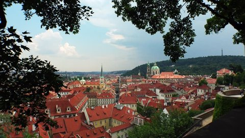Prague. Old Prague. Top view. Architecture, old houses, streets and neighborhoods. Czech Republic. Shot in 4K (ultra-high definition (UHD)).