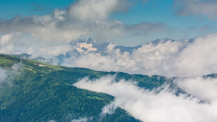 Time lapse. Russia, the Caucasus Mountains, Adygea. Fog over the forest in the mountains. | Shutterstock HD Video #11286374