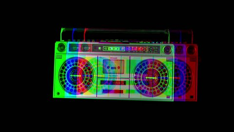 stopmotion of a retro stereo ghettoblaster moving about on its own