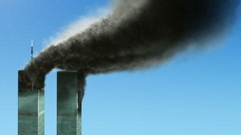 NEW YORK - SEPTEMBER 11 -  World Trade Center Towers burn and smoke after terrorist attack on September 11, 2001
