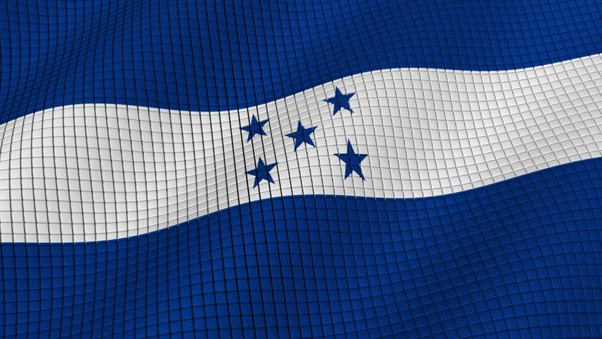 The flag of Honduras is developing waves. Looped. Full HD 1080.