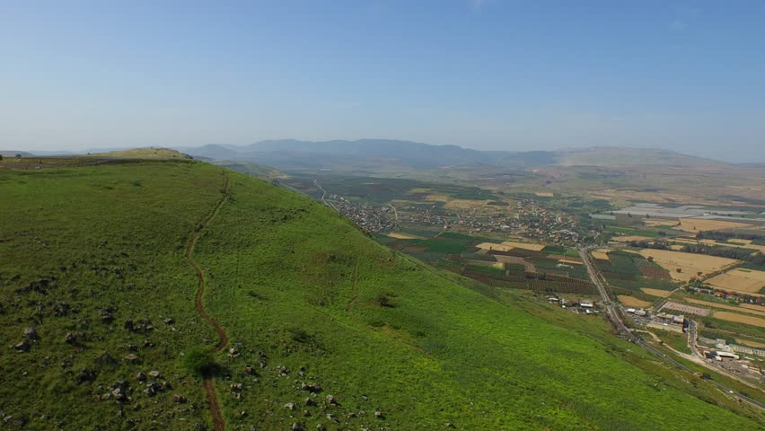 JEZREEL VALLEY, IRAEL - CIRCA MARCH 2015: Aerial of the beautiful Jezreel Valley.