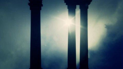 Greek Pillars on a Foggy day
