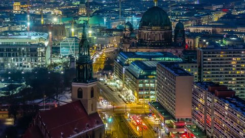 Berlin Skyline City Timelapse with Traffic on Street at evening near Alexanderplatz.
