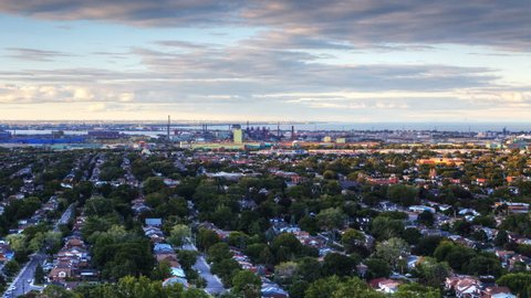 4K UltraHD A timelapse view at twilight looking down on an urban area