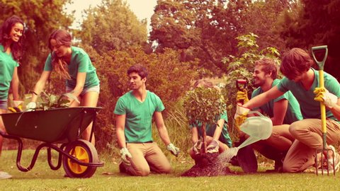 Happy group of volunteers gardening in the park in slow motion