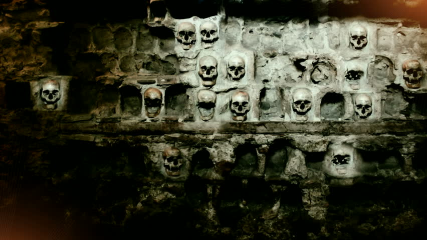 The Tower of Skull ; Human skull built into the stone wall,  video clip with light effects