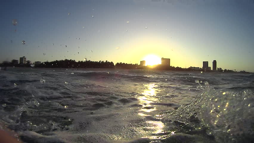 First person view of the ocean looking to the city on the shore | Shutterstock HD Video #11531984