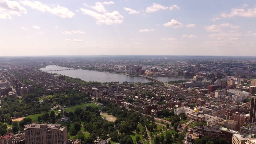 Boston Aerial v26 Flying low over Boston Common and Beacon Hill.