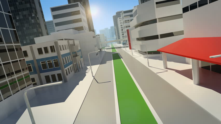 Animation of a flight through the street of a stylized, modern city.