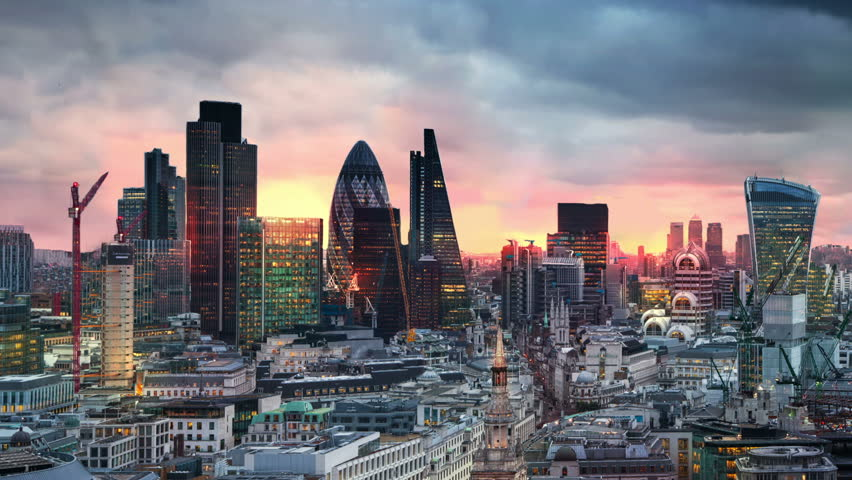 London, sunset. City of London view,  business and banking aria