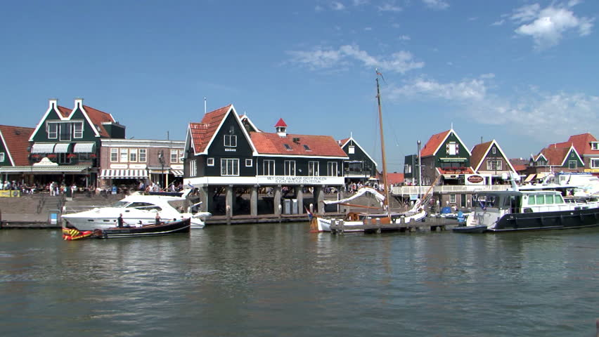 Holland, Volendam Harbour, Harbor, Haven Port, view from the water