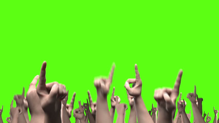 Many fists with index finger pointing, punching the air. Seamless loop against solid green and comes with the Alpha Matte. | Shutterstock HD Video #11589914