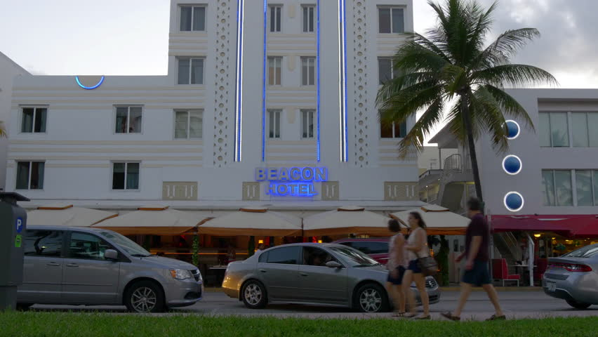 miami usa may 2015 south beach sunset ocean drive hotel view 4k florida - Multi Hotel 2015