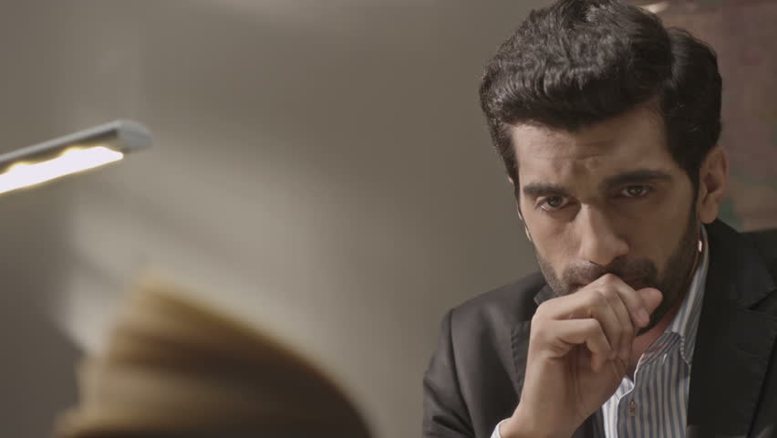 Entrepreneur, Busnessman, Lawyer  thinking over work, business matters and getting down to work.Close up. Working room. Shot on RED EPIC Cinema Camera.