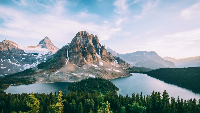 4K Timelapse of Mt Assiniboine and Sunburst Peak at sunset.