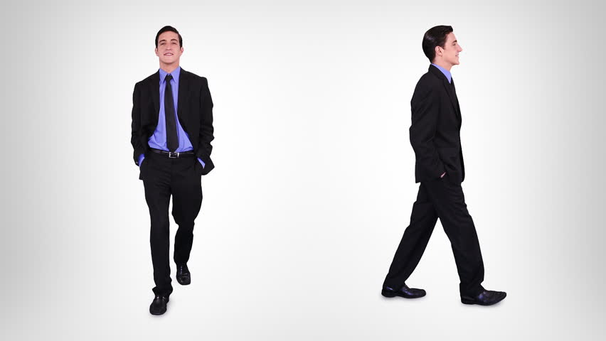 Young businessman walking over white background with alpha matte. 2 in 1. More options in my portfolio.