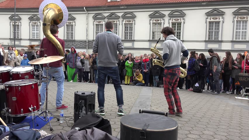 Image of: Subscribers Vilnius Lithuania May 16 Funny Boy Musician Brass Group And Drummer Perform The Assembled People On The Street On May 16 2015 In Vilnius Lithuania Engadget Vilnius Lithuania May 16 Stock Footage Video 100 Royaltyfree